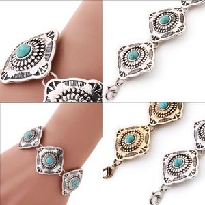 Jewelry - Bracelet Silver Coin with Turquoise Stones